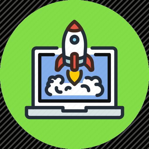 app, business, laptop, launch, process, rocket, start icon