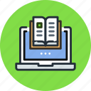 book, database, education, knowledge, laptop, learn, online icon