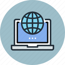 digital, global, laptop, network, online, web, work icon