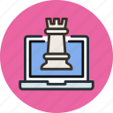 chess, digital, laptop, online, strategy icon