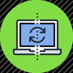 backup, devices, laptop, sync, synchronization, synchronize icon