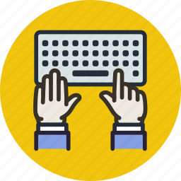 editor, hands, keyboard, type, work, writer icon