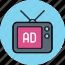 ad, advertise, advertisement, sponsor, tv