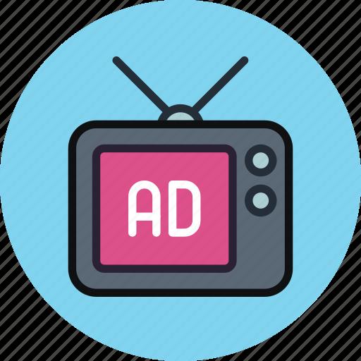ad, advertise, advertisement, sponsor, tv icon
