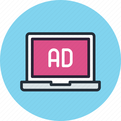 ad, advertise, advertisement, laptop, sponsor icon