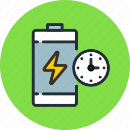 battery, charge, lightning, power, time icon