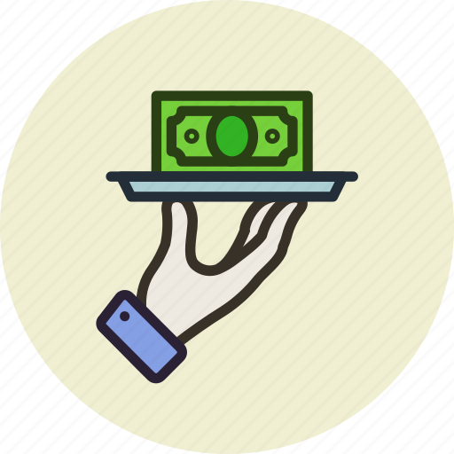 budget, business, finance, hand, money, service, tray icon