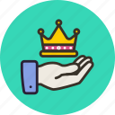 crown, hand, luxury, royal, share icon