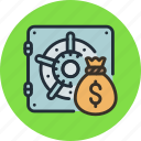 bag, bank, deposit, finance, money, safe, secure icon