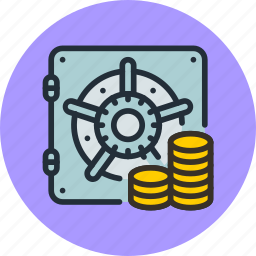 bank, coins, deposit, finance, money, safe, secure icon