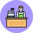 buy, cashier, employee, manager, seller, shop, store icon