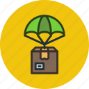 box, delivery, drop, package, parachute, product icon