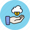 budget, cloud, finance, funding, get, hand, money icon