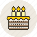 baking, birthday, cake, candle, food, pie, sweet icon