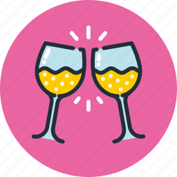 clink, drink, glass, goblet, party, toast, wineglass icon