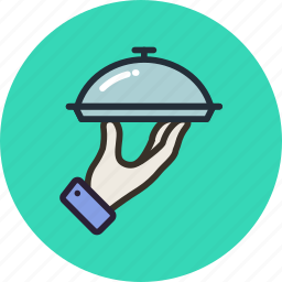 food, hand, service, tray icon