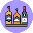 alchohol, bar, bottles, rum, whiskey, wine icon