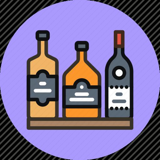 alchohol, bar, bottles, rum, whiskey, wine icon