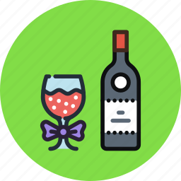 bottle, glass, party, toast, wine icon