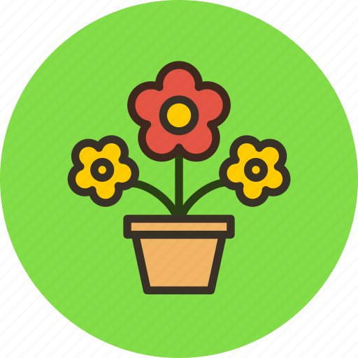 flowers, nature, pot, present icon