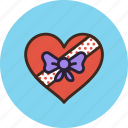 box, chocolate, gift, heart, present icon