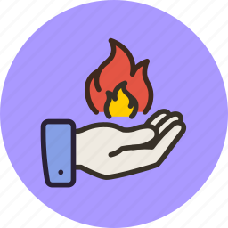 fire, hand, magic, magician, power icon