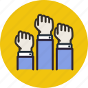 discontent, fist, freedom, hands, revolution, uprising icon
