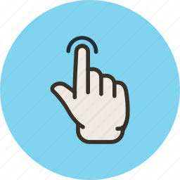 finger, gesture, hand, one, touch icon