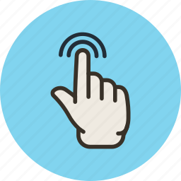 double, finger, gesture, hand, one, touch icon