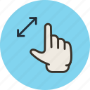 gesture, hand, stretch, zoom icon