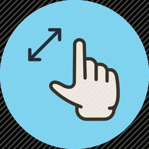gesture, hand, stretch, zoom icon