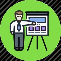 employee, man, meeting, presentation, study, user icon