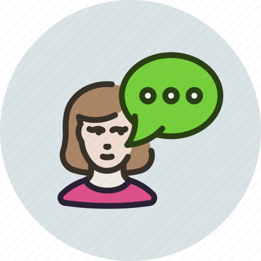 chat, contact, female, message, text, woman icon