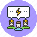 brain, communication, discussion, forum, idea, storm, team icon
