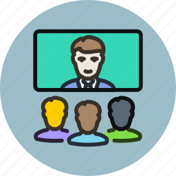 chat, communication, employee, presentation, team, video, workers icon