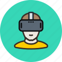 games, helmet, man, player, reality, virtal, vr icon