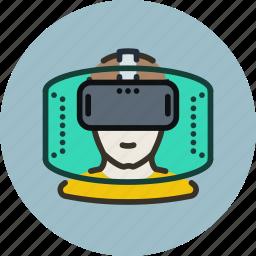 games, helmet, man, player, reality, virtual, vr icon