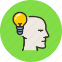 bulb, face, head, idea, light, mental, mind icon