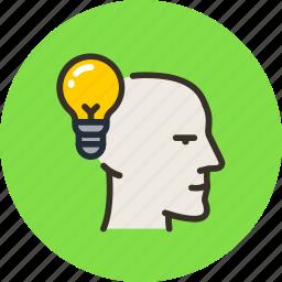 bulb, face, head, idea, light, mental, mind icon