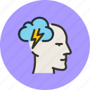 brain, face, head, idea, mental, mind, storm icon