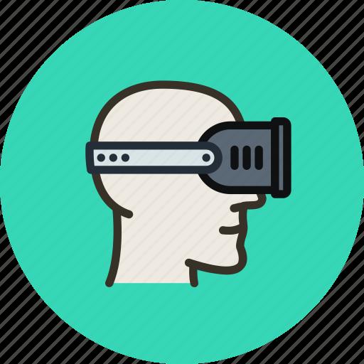 head, helmet, player, reality, virtual, vr icon
