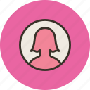 avatar, girl, profile, round, user, woman icon