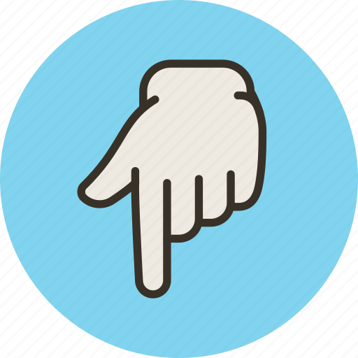 down, finger, forefinger, hand, touch icon