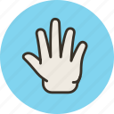 fingers, five, hand, release icon