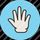 fingers, five, hand, release