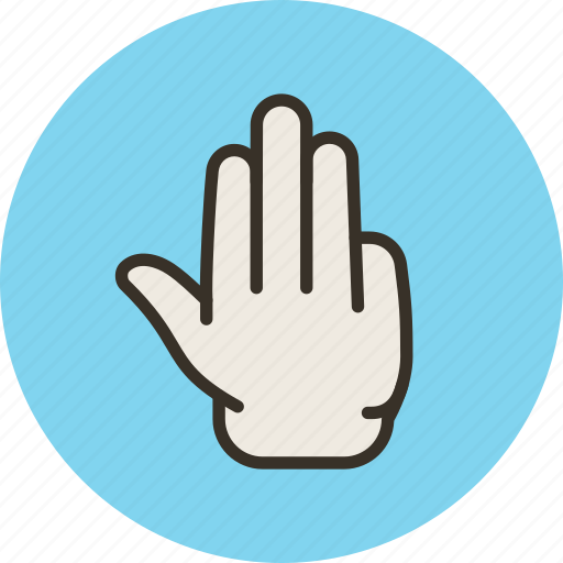 fingers, four, gesture, hand, palm icon