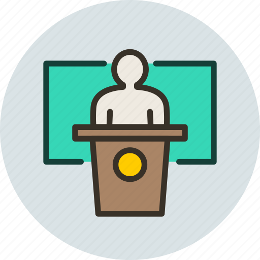 college, deputy, politician, presentation, speech, university icon