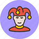 avatar, clown, human, jester, joker, man, user icon