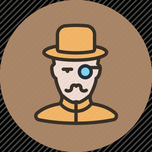 hat, holmes, man, millionaire, mustache, retro, watson icon