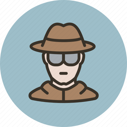 avatar, glasses, hat, human, spy icon